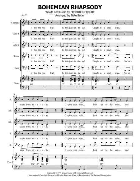 Bohemian Rhapsody - SATB+Piano Score