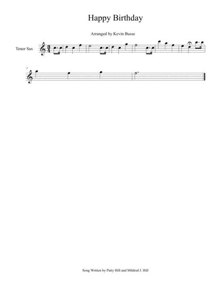 Download Happy Birthday (Easy Key Of C) - Tenor Sax Sheet