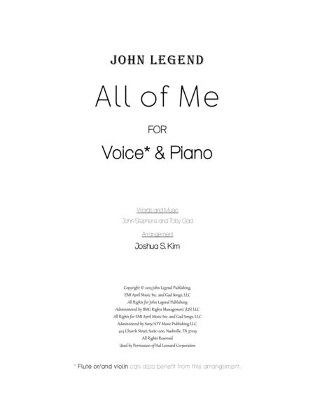 All Of Me for Voice & Piano (with full lyrics)