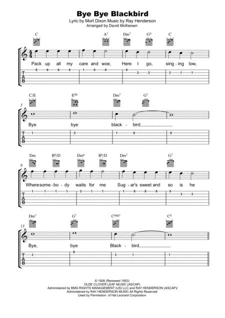 Download Bye Bye Blackbird: Tab, Notation, Lyrics And Chords For ...