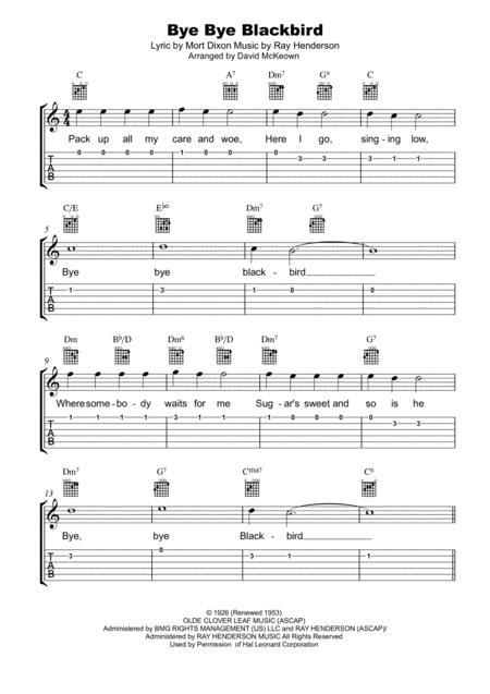 Download Bye Bye Blackbird Tab Notation Lyrics And Chords For