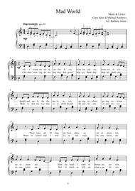 Mad World - easy key arrangement with lyrics by Barbara Arens