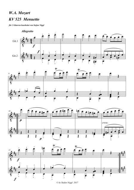 Menuet from KV 525 ( Eine kleine Nachtmusik ) for Guitar Duet