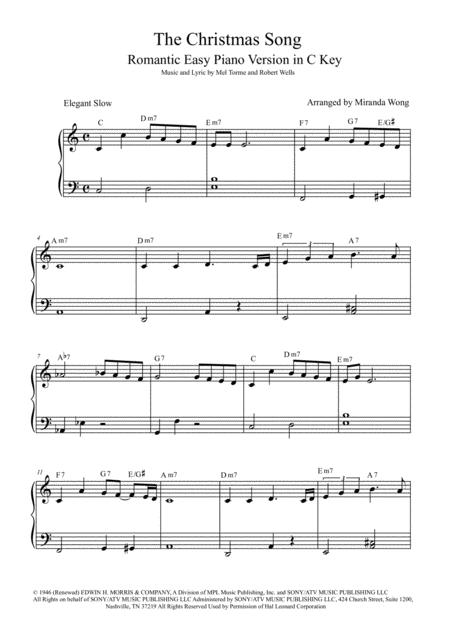 The Christmas Song (Chestnuts Roasting On An Open Fire) - Easy + Intermediate Piano Version In C ...
