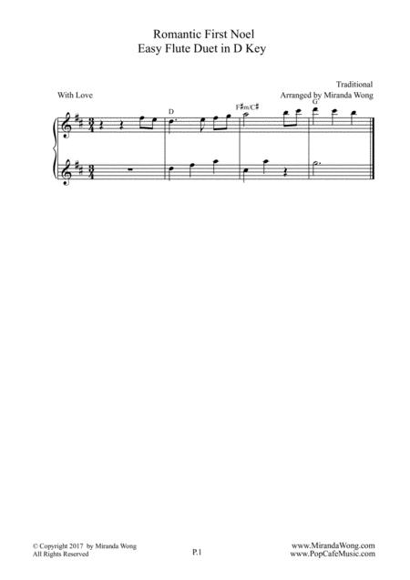 Romantic First Noel - Flute or Oboe Duet in D Key (With Chords)