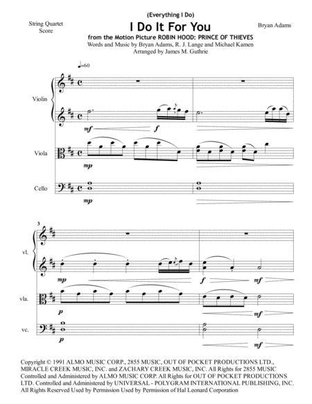 Bryan Adams: (Everything I Do) I Do It For You for String Quartet