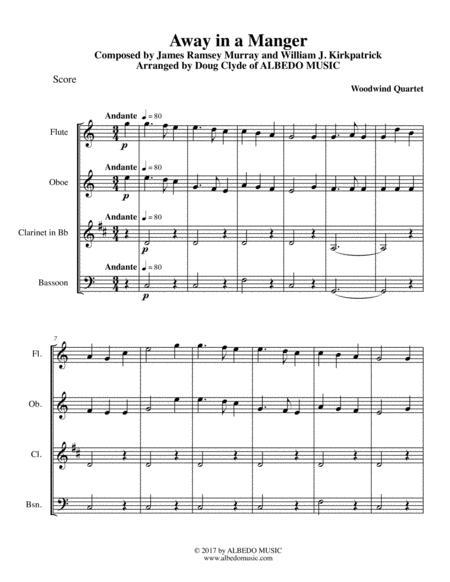 Away in a Manger for Woodwind Quartet