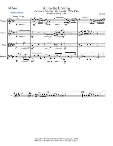 Air on the G String STRING QUARTET, String Trio, String Duo, Solo Violin, String Quartet + string bass chord chart, arranged by Sherry Lewis