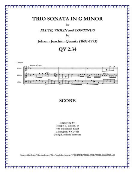 Quantz Trio Sonata in G Minor for Flute, Violin and Continuo, QV 2:34