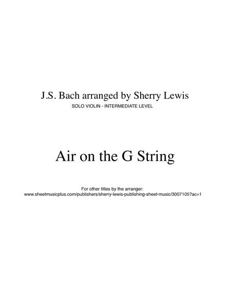 Air on the G String b J.S. Bach for SOLO VIOLIN