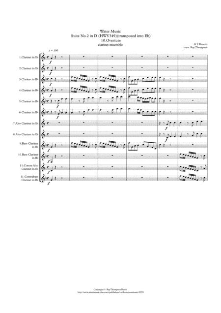 Handel: Suite No.2 in D (HWV349)(Complete) (transposed into Eb)
