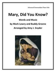 Mary, Did You Know?, piano solo