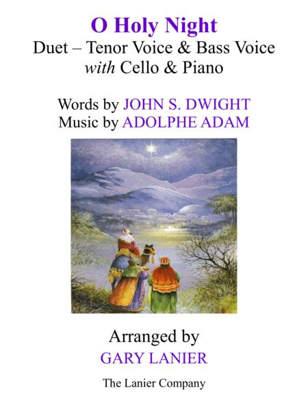 O HOLY NIGHT (Duet - Tenor Voice, Bass Voice with Cello & Piano - Score & Parts included)
