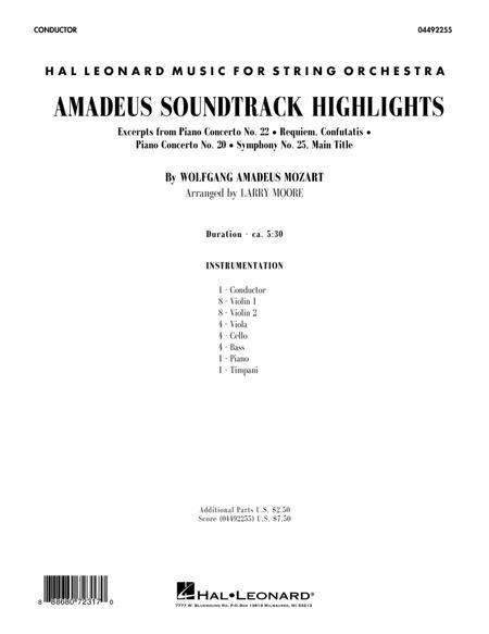 Amadeus Soundtrack Highlights - Conductor Score (Full Score)