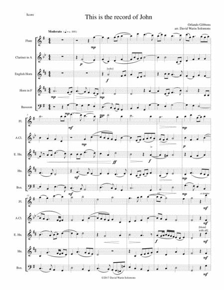 This is the record of John for wind quintet with flute, clarinet in A, cor anglais, horn and bassoon
