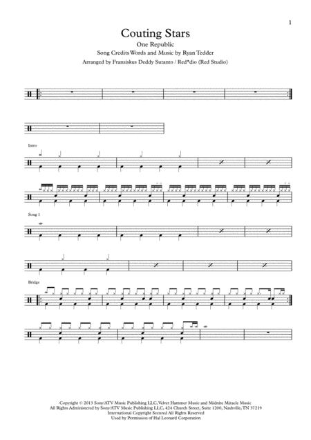 Counting Stars by One Republic (Drum Scores)