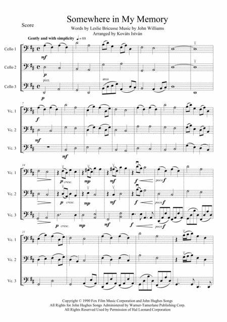 Somewhere In My Memory for Cello trio