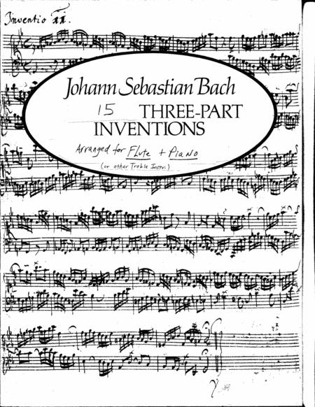 JS Bach 15 three part inventions (sinfonias) arranged for flute or  treble instrument. This is the top part.