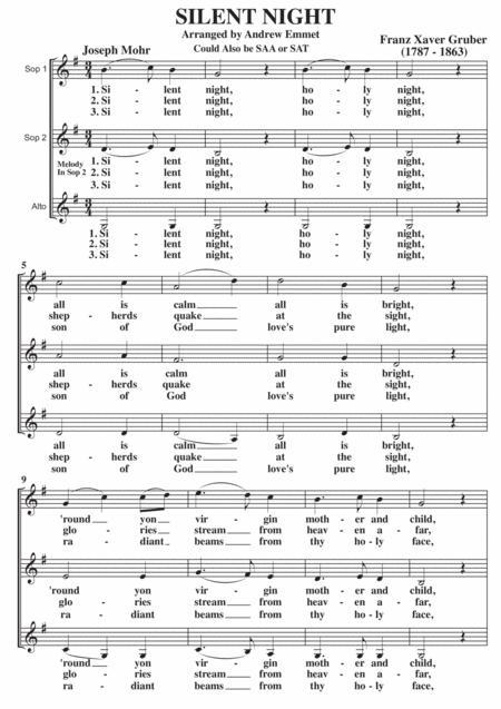 Silent Night SSA or SAA A Cappella