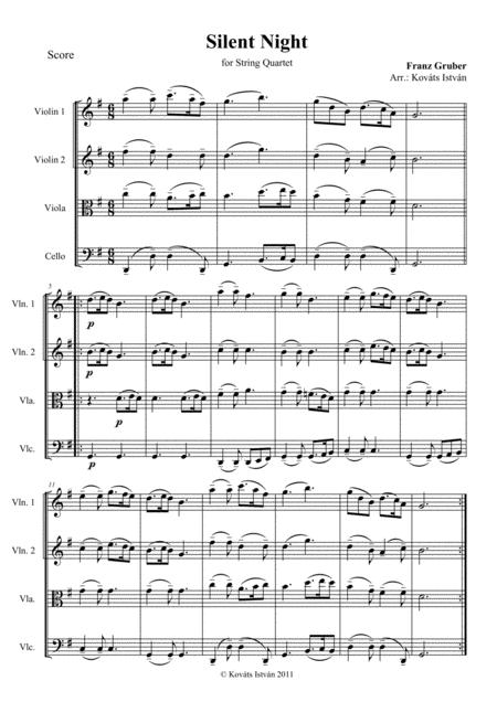 Silent Night for String Quartet