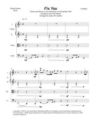 Download Coldplay: Fix You For String Quartet Sheet Music By