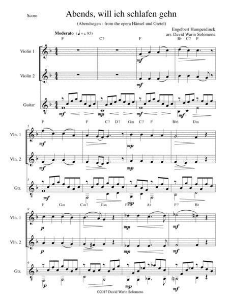 Abendsegen (Abends will ich schlafen gehn) for 2 violins and guitar