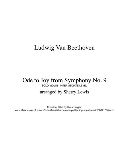 OdeTo Joy from Symphony No. 9 by Ludwig van Beethoven for SOLO VIOLIN