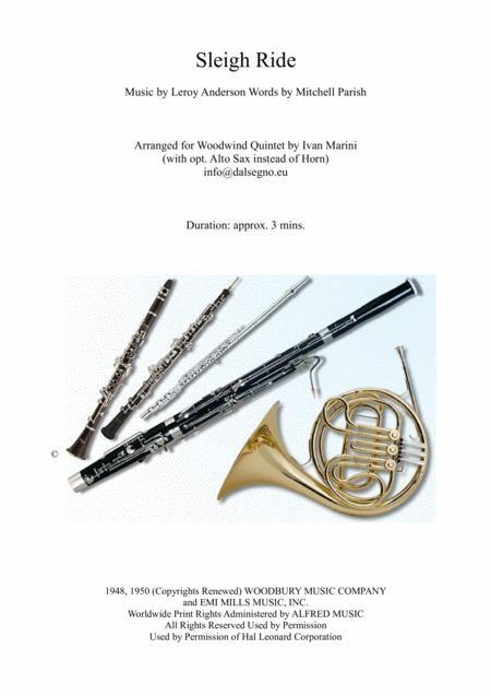 Sleigh Ride - Woodwind Quintet (opt. Alto Sax)