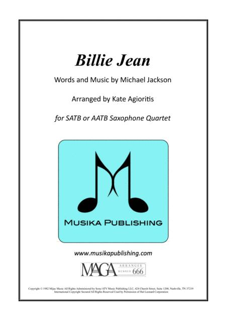 Billie Jean - for Saxophone Quartet