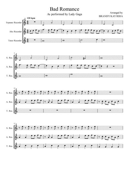 bad romance (for recorder trio) by lady gaga, - digital sheet music for  score - download & print h0.286625-207388   sheet music plus  sheet music plus