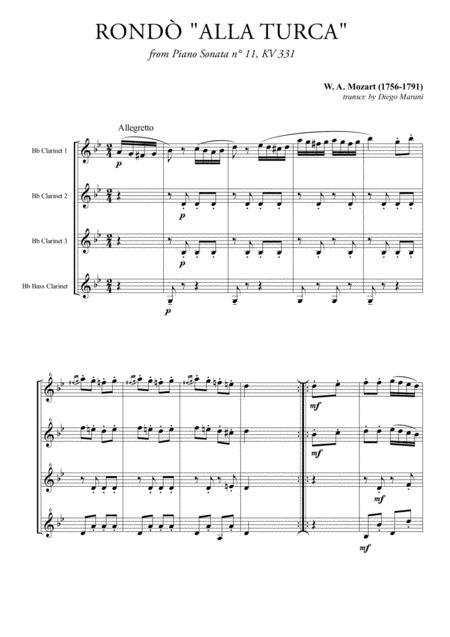 Rondò alla Turca (Turkish March) for Clarinet Quartet