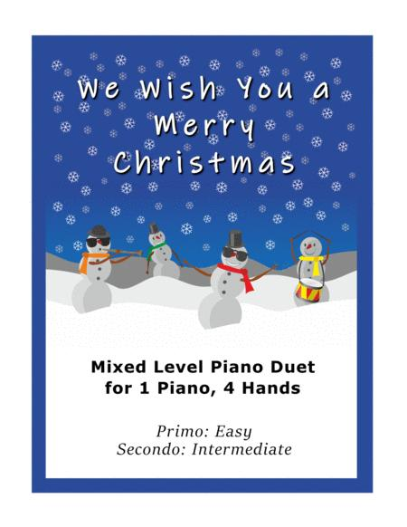 We Wish You a Merry Christmas (Easy Piano Duet; 1 Piano, 4 Hands)