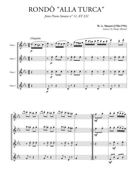 Rondò alla Turca (Turkish March) for Flute Quartet
