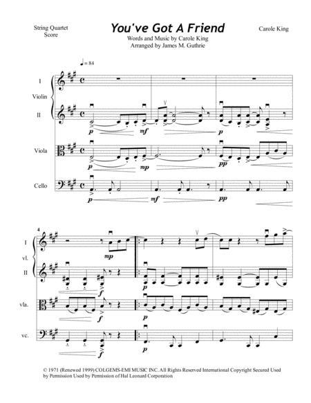 Carole King: You've Got A Friend for String Quartet