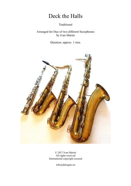 Deck the Halls - Duet for any combination of different Saxophones
