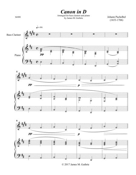 Pachelbel: Canon for Bass Clarinet & Piano