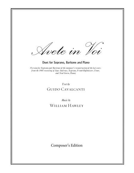 Avete in Voi (version for Soprano and Baritone)