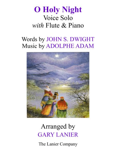 O HOLY NIGHT (Voice Solo with Flute & Piano - Score & Parts included)