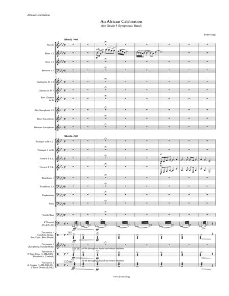 An African Celebration (for Grade 5 Symphonic Band) Score and Parts