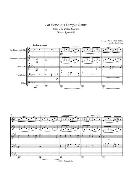 Au Fond du Temple Saint from the The Pearl Fishers (Brass Quintet)