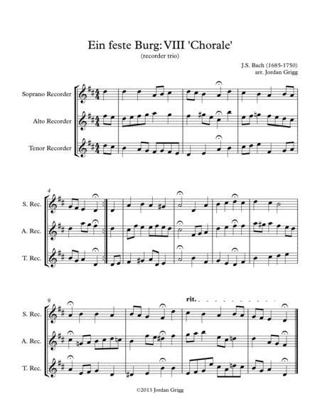 Ein feste Burg VIII 'Chorale' (recorder trio)
