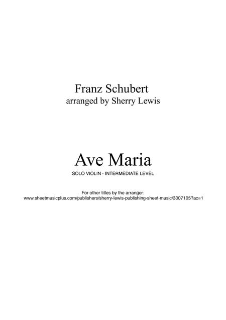 Ave Maria by Franz Schubert for SOLO VIOLIN