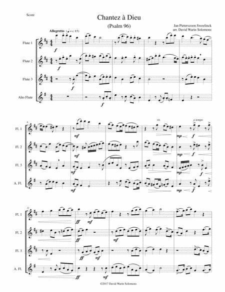 Chantez à Dieu for flute quartet (3 flutes and 1 alto flute)
