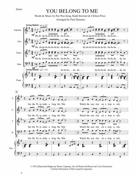 You Belong To Me SATB with piano accompaniment