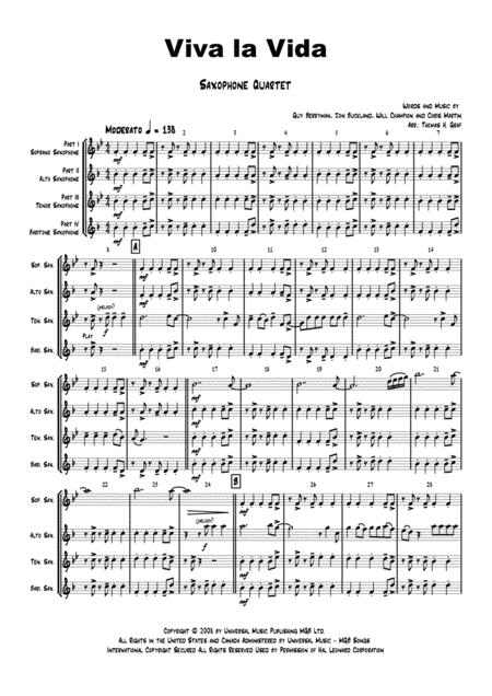 Viva la Vida - Cold Play - Saxophone Quartet
