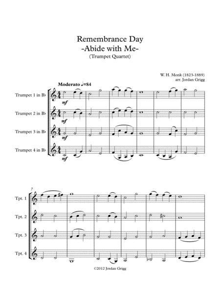 Preview Remembrance Day Abide With Me Trumpet Quartet By William