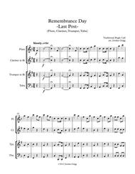 Remembrance Day. 'Last Post' (Flute, Clarinet, Trumpet, Tuba)