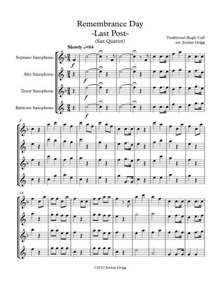 Remembrance Day. 'Last Post' (Sax Quartet)