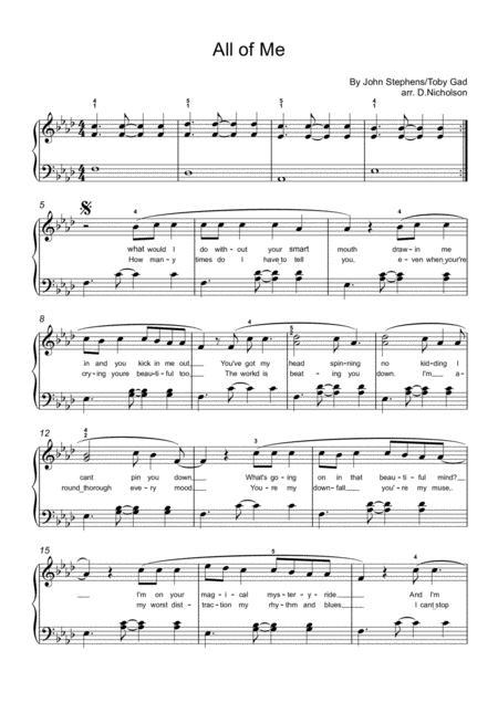 All Of Me - piano solo
