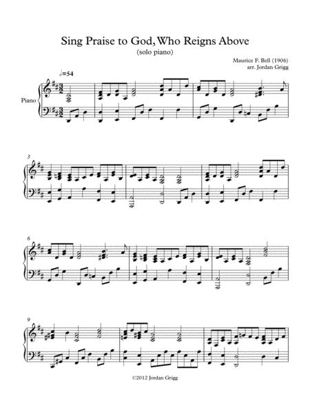 Sing Praise to God, Who Reigns Above (solo piano)